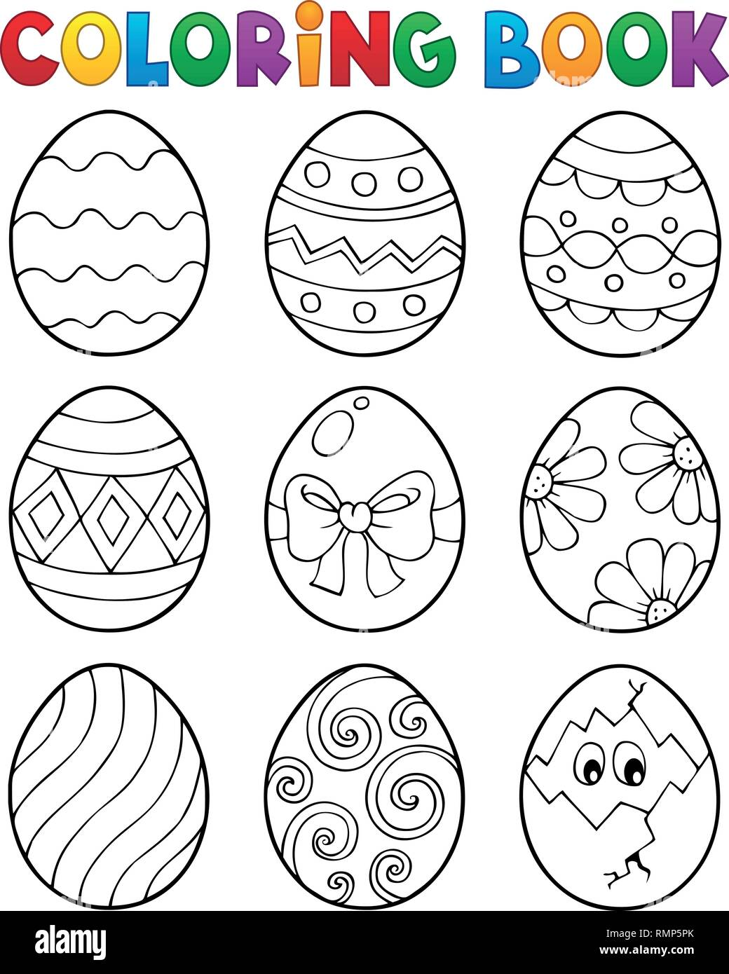 Coloring Book Easter Eggs Theme 3 - Eps10 Vector Illustration