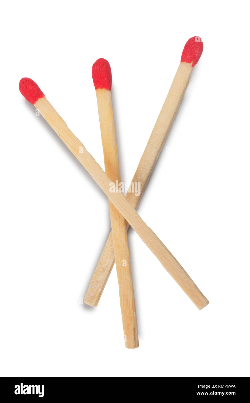 Studio shot of unlit matches isolated on a white background - John Gollop - Stock Image