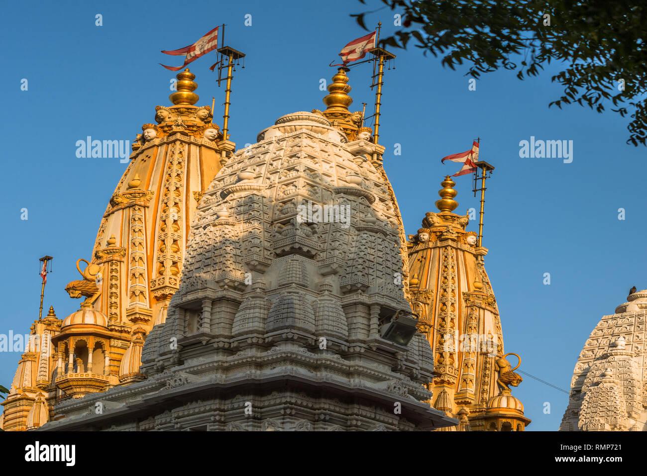 12-01-2017-three shikhara BAPS Shri Swaminarayan Mandir Shahibaug Road, Ahmedabad, Gujarat INDIA - Stock Image