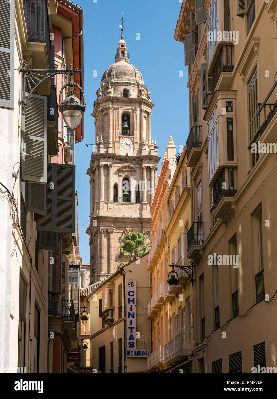 View of bell tower of Malaga cathedral along narrow street, Malaga old town, Andalusia, Spain - Stock Image