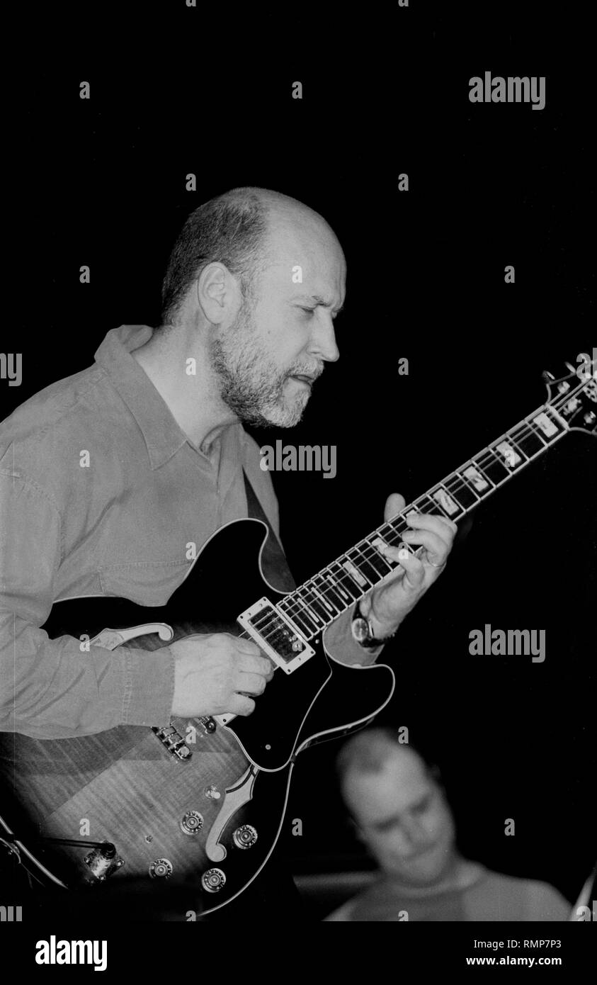 Jazz guitarist and composer John Scofield is shown performing on stage during a 'live' concert appearance. - Stock Image