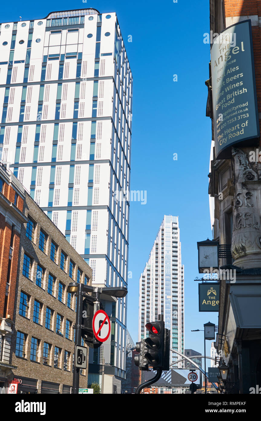 New apartment buildings on City Road, London UK, looking north towards the Old Street roundabout - Stock Image