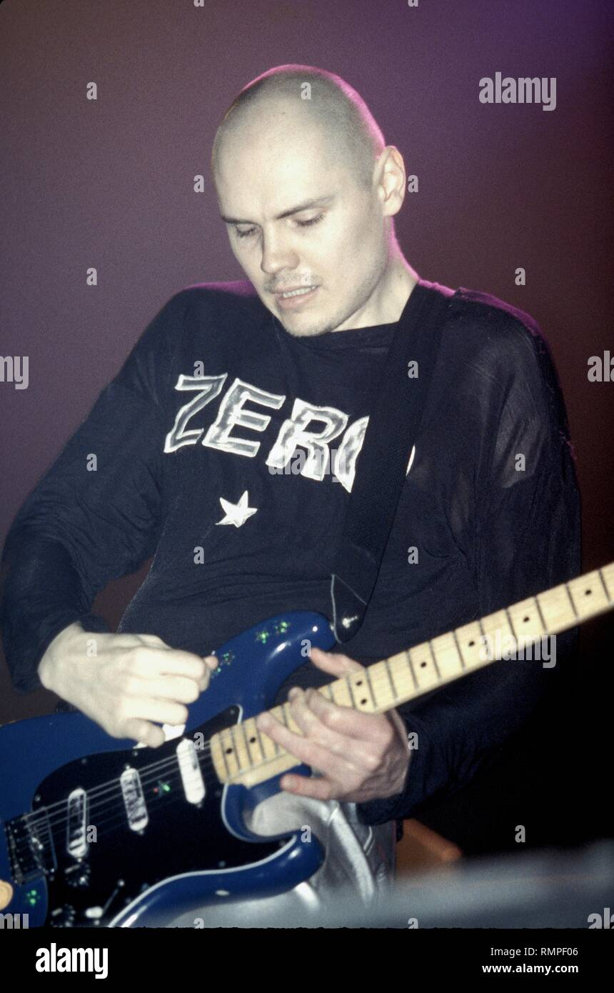 Singer, songwriter and guitarist Billy Corgan of the alternative rock band The Smashing Pumpkins is shown performing on stage during a 'live' concert appearance. - Stock Image