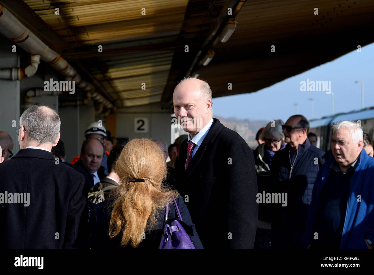 Dawlish, UK. 15th Feb, 2019. 15/02/2019  MP Chris Grayling visiting Dawlish. - Photo mandatory by-line: Andy Styles - Tel: 01626 872731 - Mobile: 07834214253 TQAS20190215B-004_C Credit: Andy Styles Photography/Alamy Live News - Stock Image