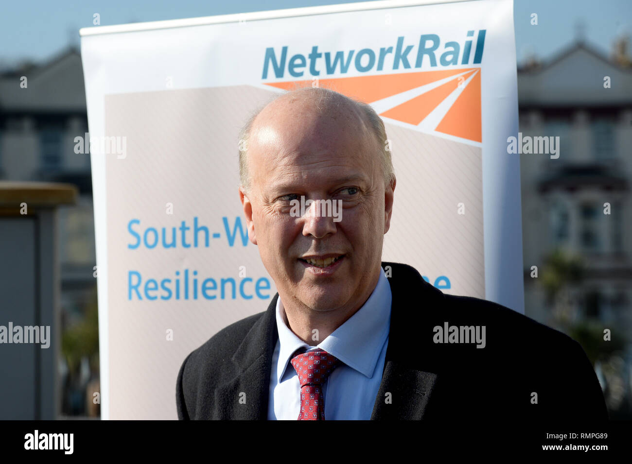 Dawlish, UK. 15th Feb, 2019. 15/02/2019  MP Chris Grayling visiting Dawlish. - Photo mandatory by-line: Andy Styles - Tel: 01626 872731 - Mobile: 07834214253 TQAS20190215B-005_C Credit: Andy Styles Photography/Alamy Live News - Stock Image