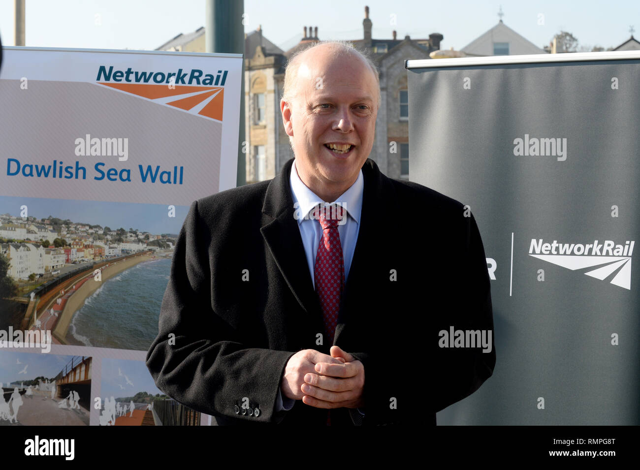 Dawlish, UK. 15th Feb, 2019. 15/02/2019  MP Chris Grayling visiting Dawlish. - Photo mandatory by-line: Andy Styles - Tel: 01626 872731 - Mobile: 07834214253 TQAS20190215B-009_C Credit: Andy Styles Photography/Alamy Live News - Stock Image