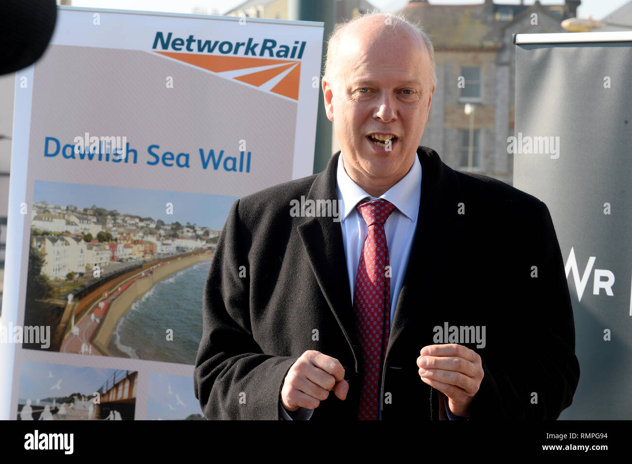 Dawlish, UK. 15th Feb, 2019. 15/02/2019  MP Chris Grayling visiting Dawlish. - Photo mandatory by-line: Andy Styles - Tel: 01626 872731 - Mobile: 07834214253 TQAS20190215B-011_C Credit: Andy Styles Photography/Alamy Live News - Stock Image