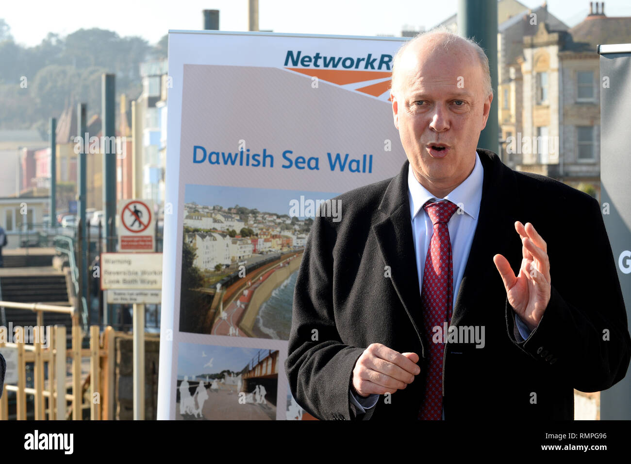 Dawlish, UK. 15th Feb, 2019. 15/02/2019  MP Chris Grayling visiting Dawlish. - Photo mandatory by-line: Andy Styles - Tel: 01626 872731 - Mobile: 07834214253 TQAS20190215B-012_C Credit: Andy Styles Photography/Alamy Live News - Stock Image