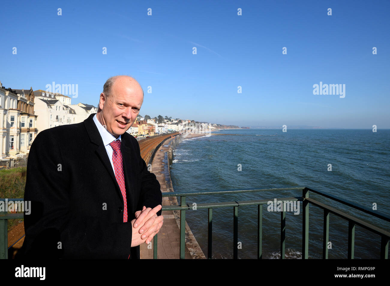 Dawlish, UK. 15th Feb, 2019. 15/02/2019  MP Chris Grayling visiting Dawlish. - Photo mandatory by-line: Andy Styles - Tel: 01626 872731 - Mobile: 07834214253 TQAS20190215B-017_C Credit: Andy Styles Photography/Alamy Live News - Stock Image