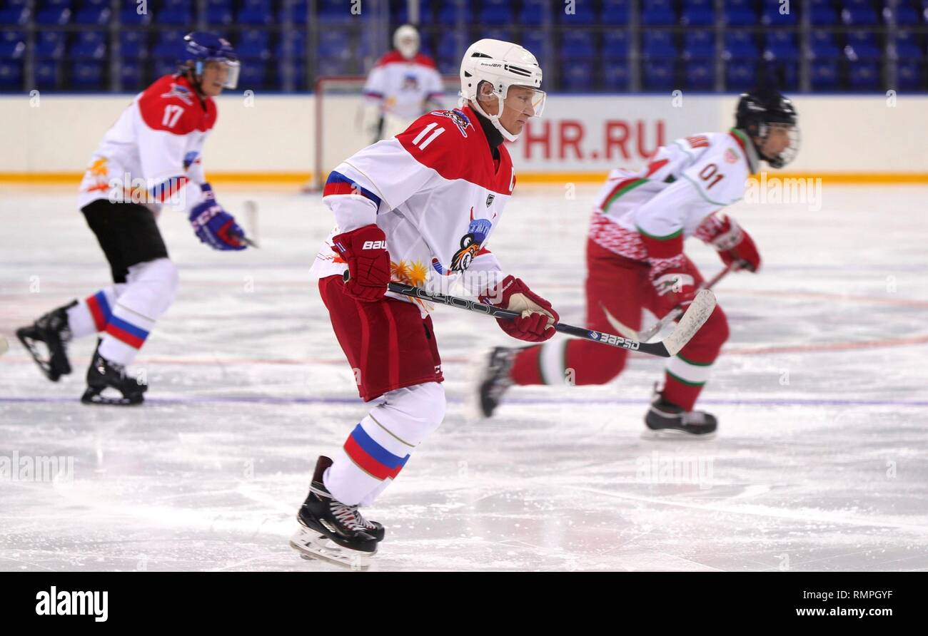Sochi, Russia. 15th Feb, 2019. Russian President Vladimir Putin, #11, during a friendly ice hockey match with Belarus President Alexander Lukashenko at the Shaiba Arena February 15, 2019 in Sochi, Russia. Credit: Planetpix/Alamy Live News Stock Photo