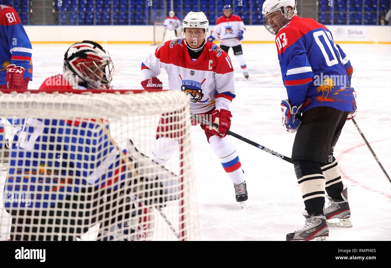 Sochi, Russia. 15th Feb, 2019. Russian President Vladimir Putin, #11, center, during a friendly ice hockey match with Belarus President Alexander Lukashenko at the Shaiba Arena February 15, 2019 in Sochi, Russia. Credit: Planetpix/Alamy Live News Stock Photo