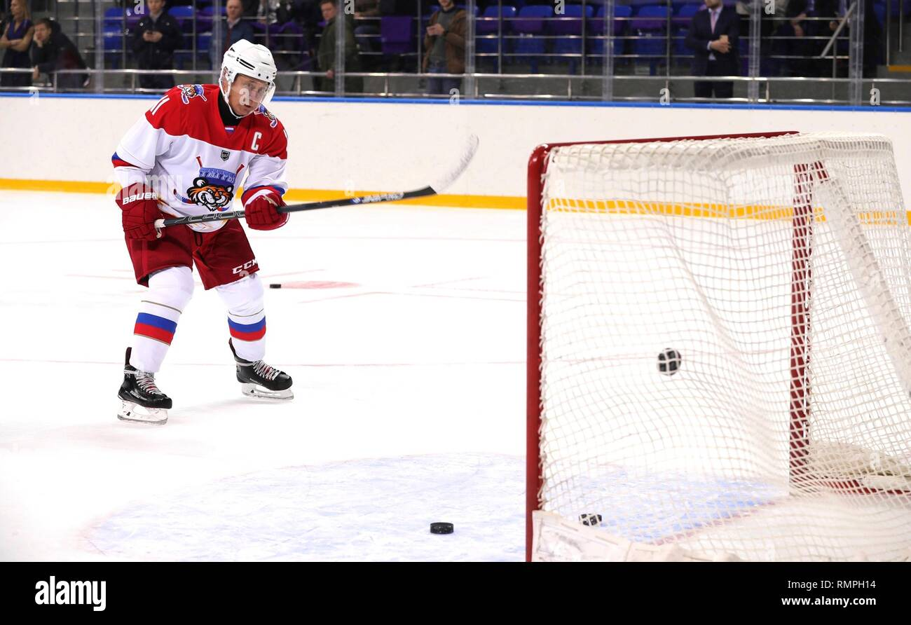 Sochi, Russia. 15th Feb, 2019. Russian President Vladimir Putin, #11, practices before playing in a friendly ice hockey match with Belarus President Alexander Lukashenko at the Shaiba Arena February 15, 2019 in Sochi, Russia. Credit: Planetpix/Alamy Live News Stock Photo