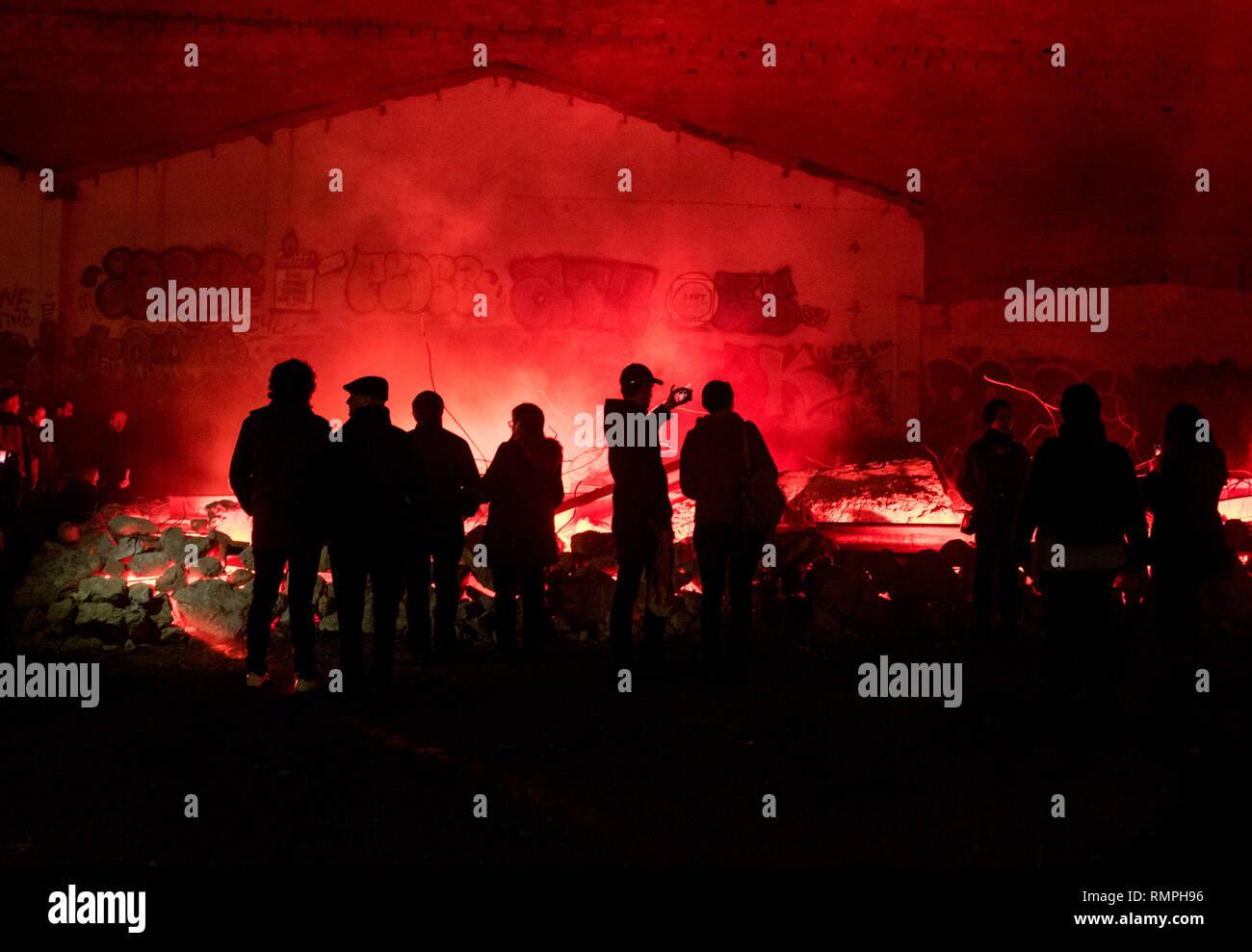 Barcelona, Spain. 15th Feb, 2019. -  People visit a light show installation during the Llum Bcn Festival. Credit:  Jordi Boixareu/Alamy Live News - Stock Image