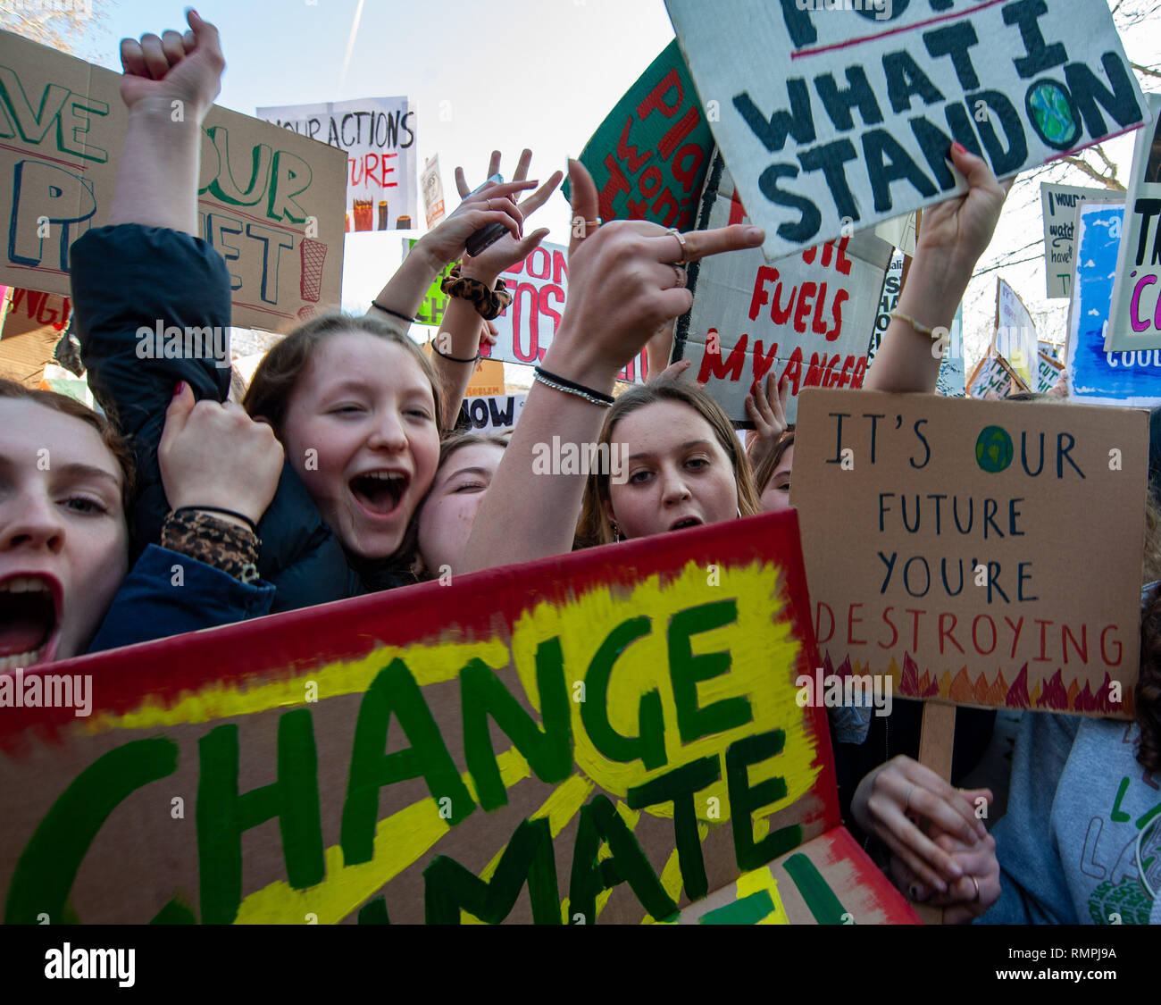 London, UK. 15th Feb, 2019. Protesters pose with placards Credit: Oliver Monk/Alamy Live News Stock Photo