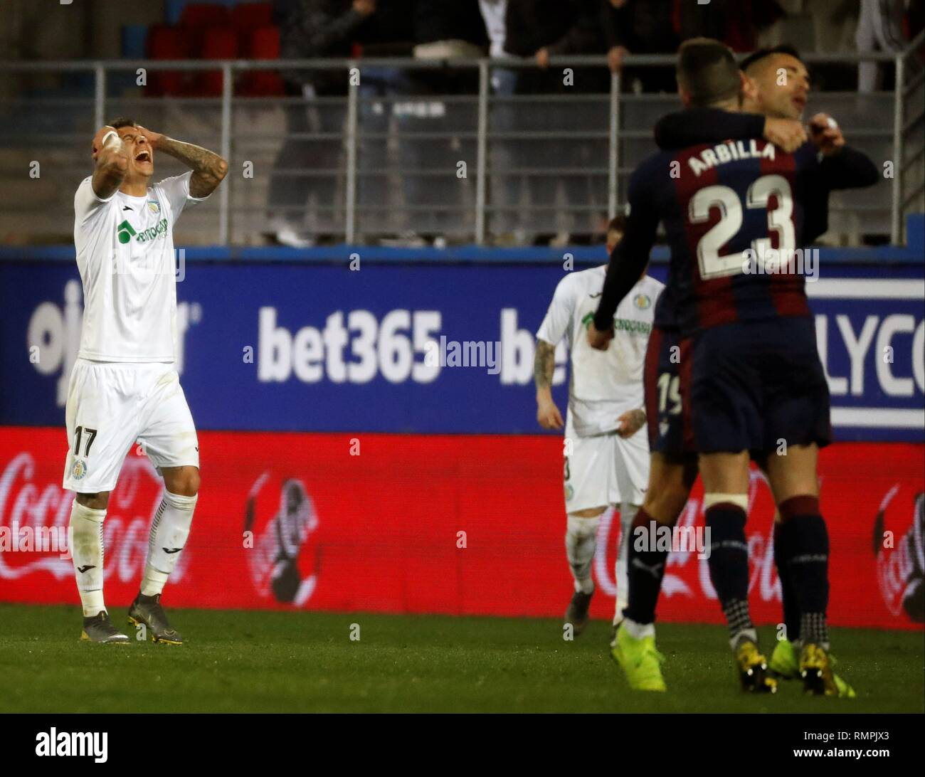 Eibar, Spain. 15th Feb, 2019. Getafe's French Mathias Olivera (L) jubilates a goal during the Spanish LaLiga match between SD Eibar and Getafe at Ipurua stadium in Eibar, Basque Country, Spain, 15 February 2019. Credit: Javier Etxezarreta/EFE/Alamy Live News - Stock Image