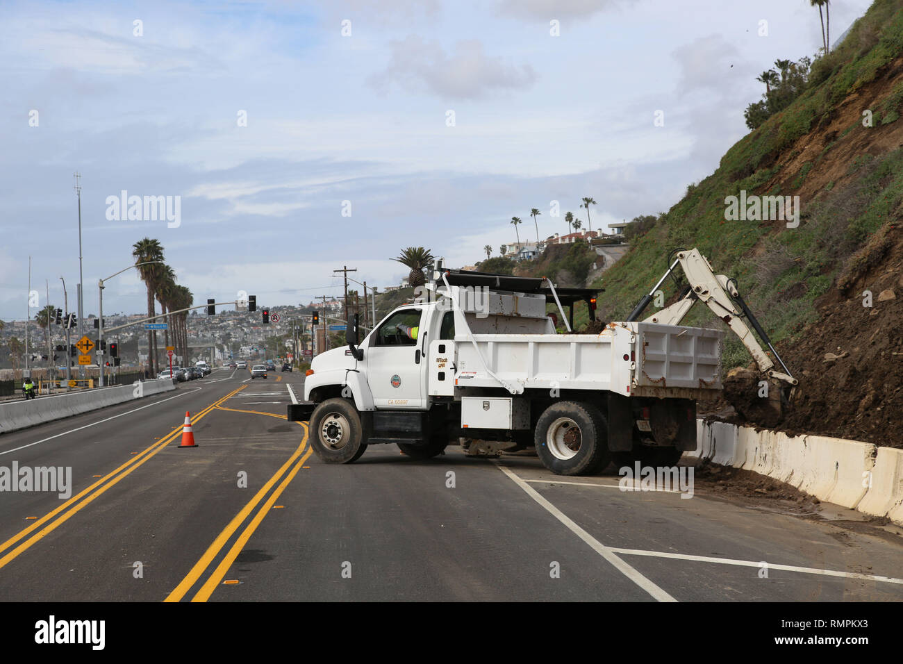 San Clemente, California, USA  15th Feb, 2019  A landslides due