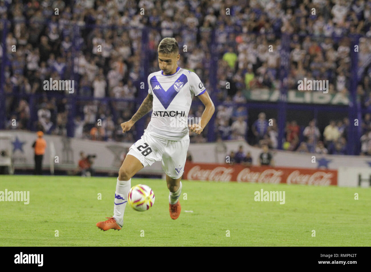 Buenos Aires, Argentina. 15th Feb, 2019. Nicolas Dominguez during the match between Vélez Sarsfield e Colon for Superliga Argentina, this friday on José Amalfitani Stadium on Buenos Aires, Argentina. ( Credit: Néstor J. Beremblum/Alamy Live News - Stock Image