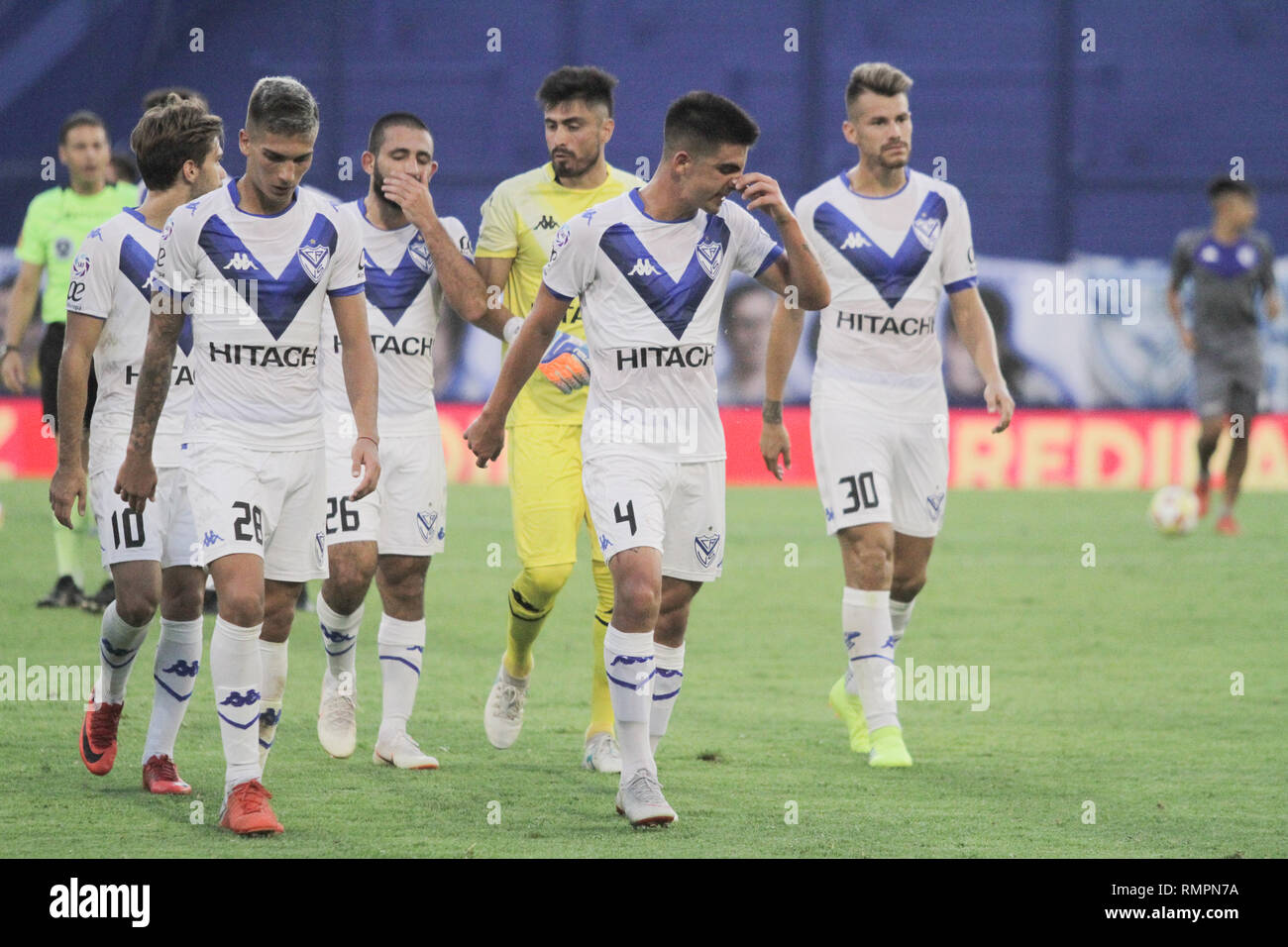 Buenos Aires, Argentina. 15th Feb, 2019. Players of Vélez after the match between Vélez Sarsfield e Colon for Superliga Argentina, this friday on José Amalfitani Stadium on Buenos Aires, Argentina. ( Credit: Néstor J. Beremblum/Alamy Live News - Stock Image