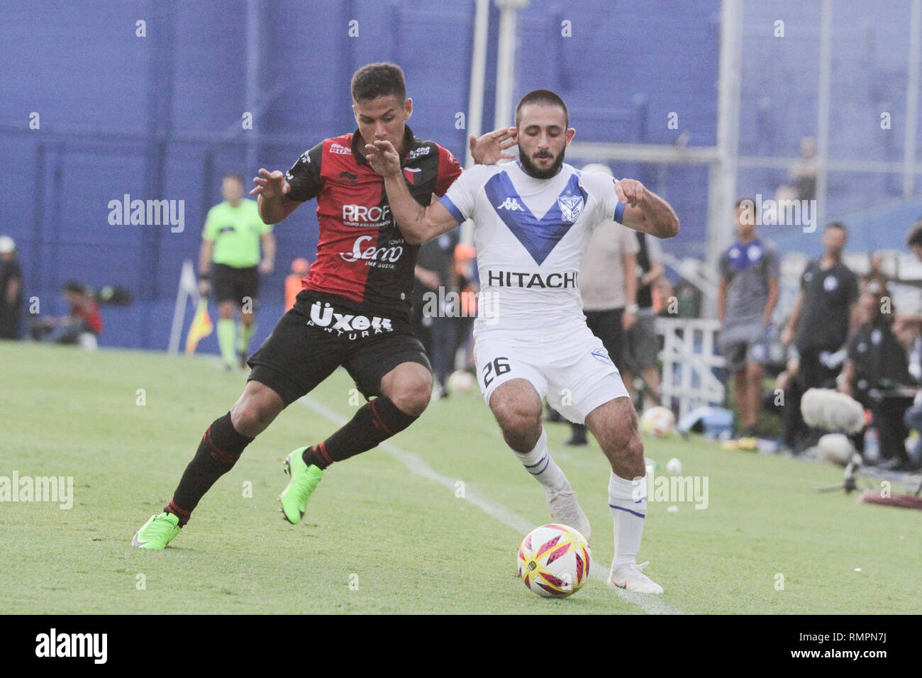 Buenos Aires, Argentina. 15th Feb, 2019. Matias Vargas during the match between Vélez Sarsfield e Colon for Superliga Argentina, this friday on José Amalfitani Stadium on Buenos Aires, Argentina. ( Credit: Néstor J. Beremblum/Alamy Live News - Stock Image