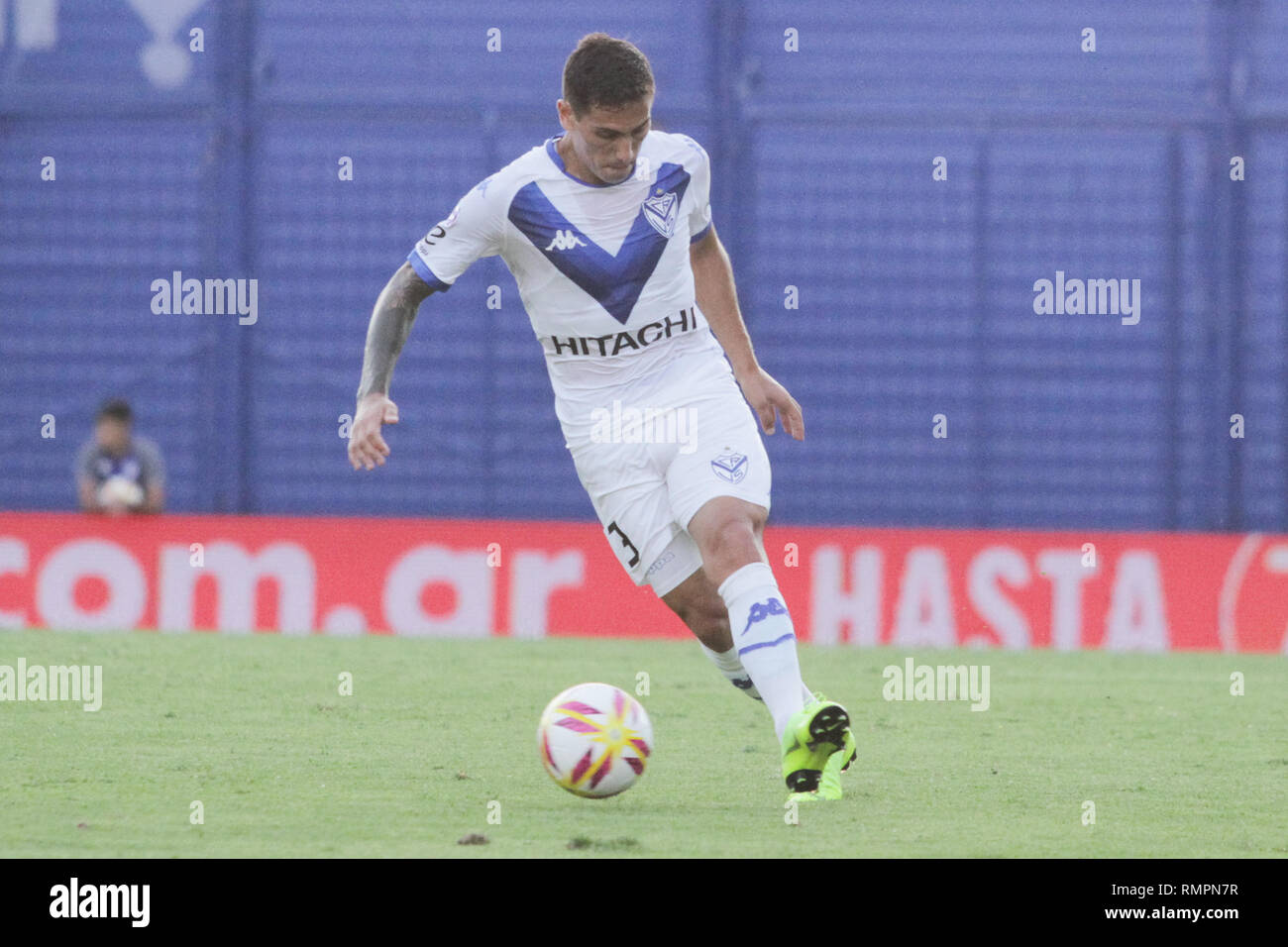 Buenos Aires, Argentina. 15th Feb, 2019. Braian Cufre during the match between Vélez Sarsfield e Colon for Superliga Argentina, this friday on José Amalfitani Stadium on Buenos Aires, Argentina. ( Credit: Néstor J. Beremblum/Alamy Live News - Stock Image