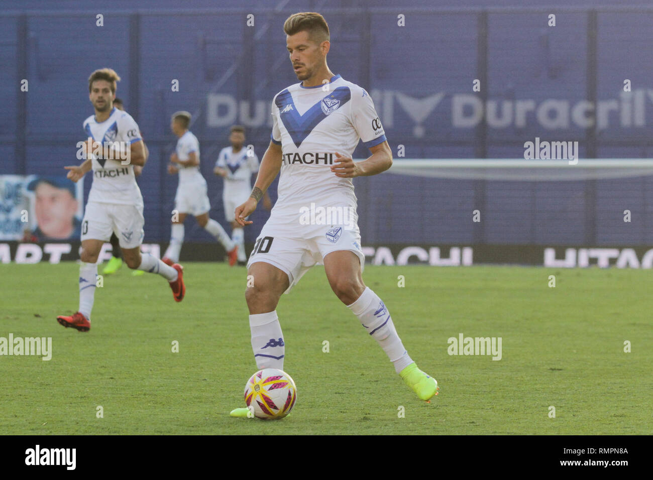 Buenos Aires, Argentina. 15th Feb, 2019. Gaston Gimenez during the match between Vélez Sarsfield e Colon for Superliga Argentina, this friday on José Amalfitani Stadium on Buenos Aires, Argentina. ( Credit: Néstor J. Beremblum/Alamy Live News - Stock Image