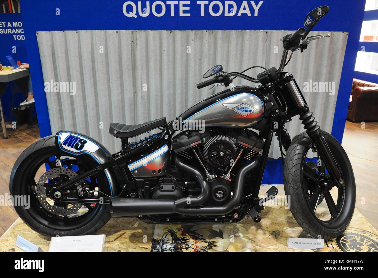 London, UK  15th Feb, 2019  A customised Harley-Davidson
