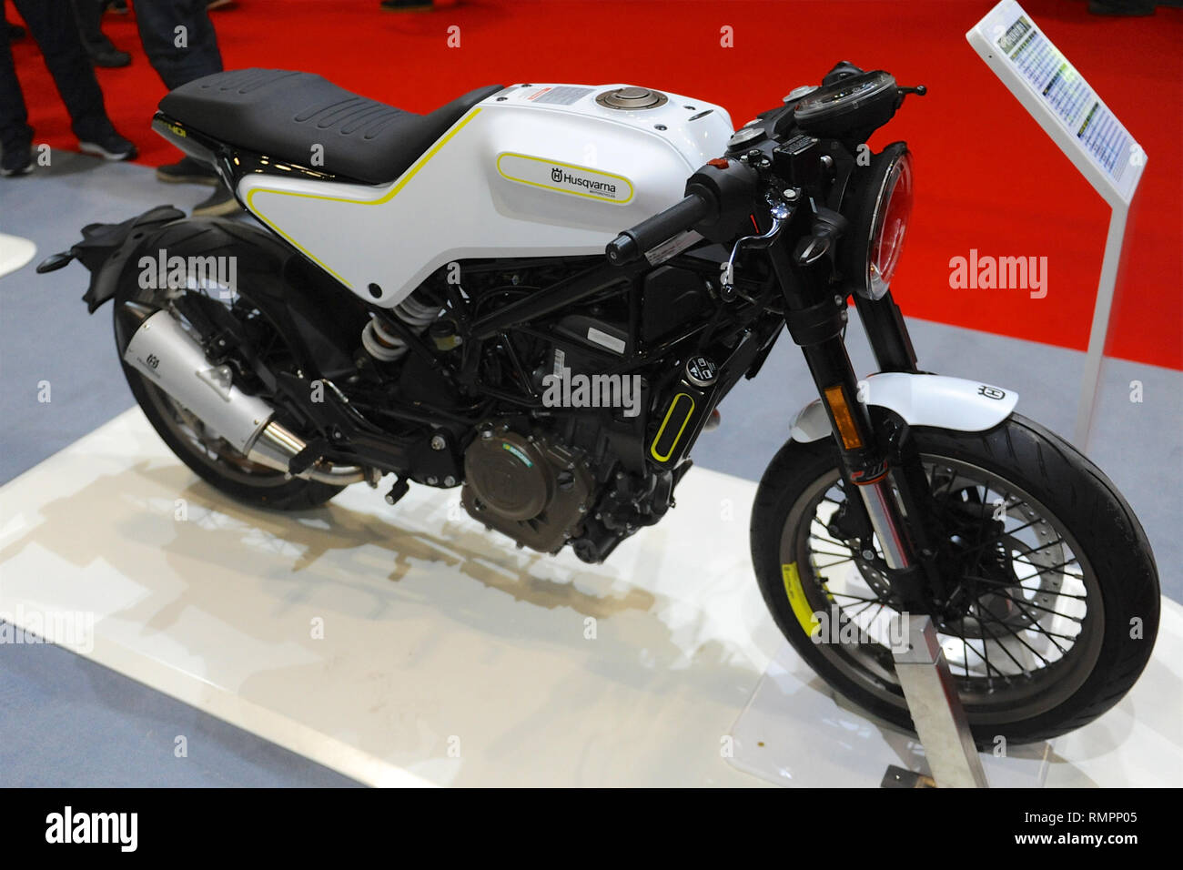 London, UK. 15th Feb, 2019. A Husqvarna 401 Vitpilen motorbike on display at the Carole Nash MCN London Motorcycle Show which is taking place at ExCel London, United Kingdom.  The show features a vast variety of wheeled transport from motorbikes, scooters and superbikes to customised one-off choppers from the world's top motorcycle manufacturers, Around 40,000 fans are expected to visit the show, ranging from two wheel enthusiasts to baby boomer, born again bikers looking for their ultimate motorcycle for a dream roadtrip. Credit: Michael Preston/Alamy Live News - Stock Image