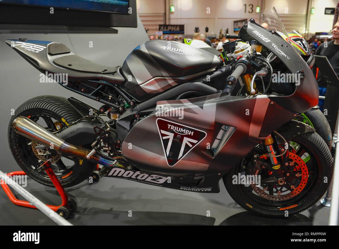 London Uk 15th Feb 2019 A Prototype Triumph Motorbike On Display