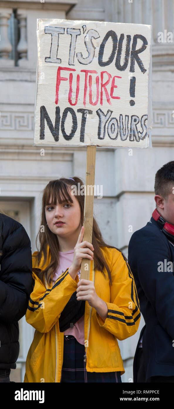 London, UK. 15 February 2019. Protester at the London demonstration against Climate change in Westminster. Over a thousand school students walked out of school and gathered around Parliament Square to protest climate change. © Stuart Walden/ Alamy Live News - Stock Image