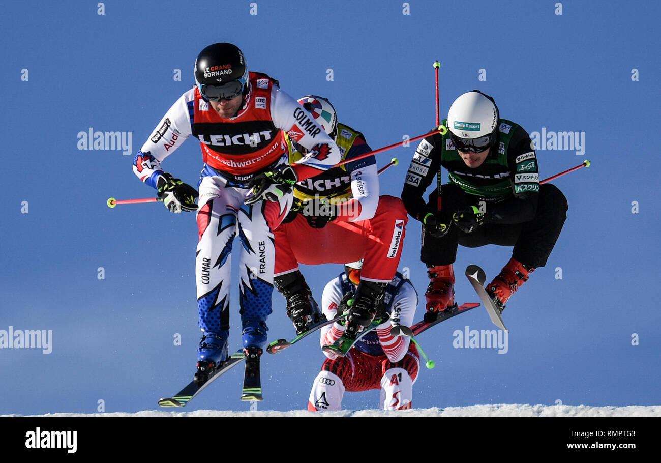 Bastien Midol L R From France Alex Fiva Switzerland Johannes Rohrweck Austria And Ryo Sugai Japan Jump Through The Air In
