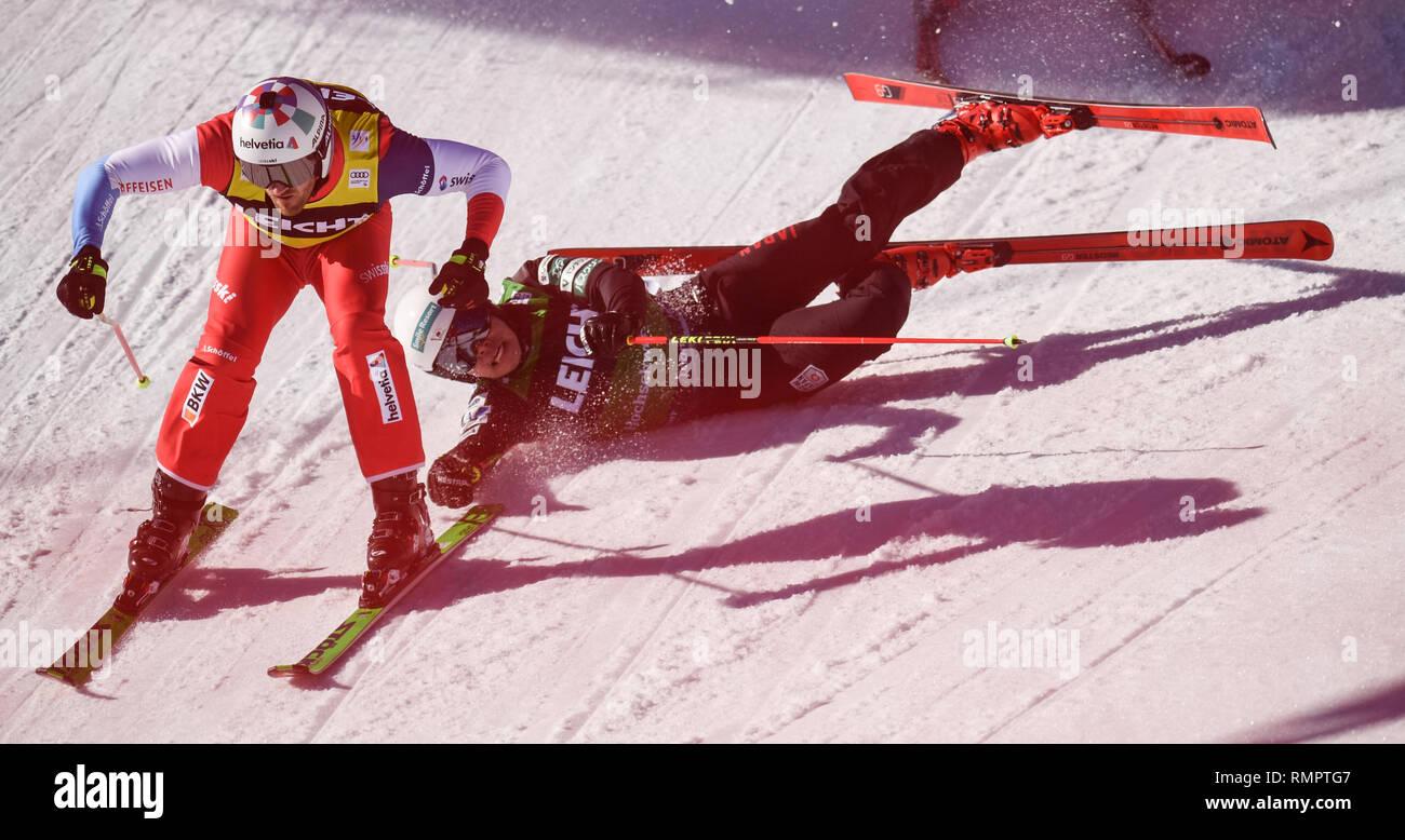 Feldberg Germany 16th Feb 2019 Ski Cross World Cup Alex Fiva From Switzerland L Is In The Quarter Finals On Right Ryo Sugai Falls Japan