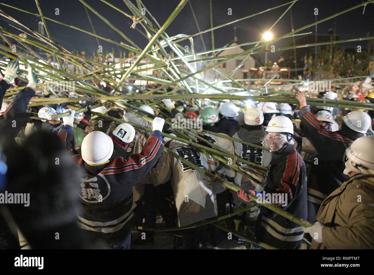 MISATO, AKITA, JAPAN - FEBRUARY 15: In this photo shows Akita men wield bamboo poles and beat each other up for a sacred festival in order to divine the coming harvest during the Rokugo no Takeuchi or Bamboo Fight Festival of Rokugo at Misato town, Semboku District, Akita Prefecture, Japan on Feb. 15, 2019. The festival takes place annually to hope for a good harvests and bring success, good Health and also for family safety. (Photo by Richard Atrero de Guzman/Aflo) Credit: Aflo Co. Ltd./Alamy Live News - Stock Image