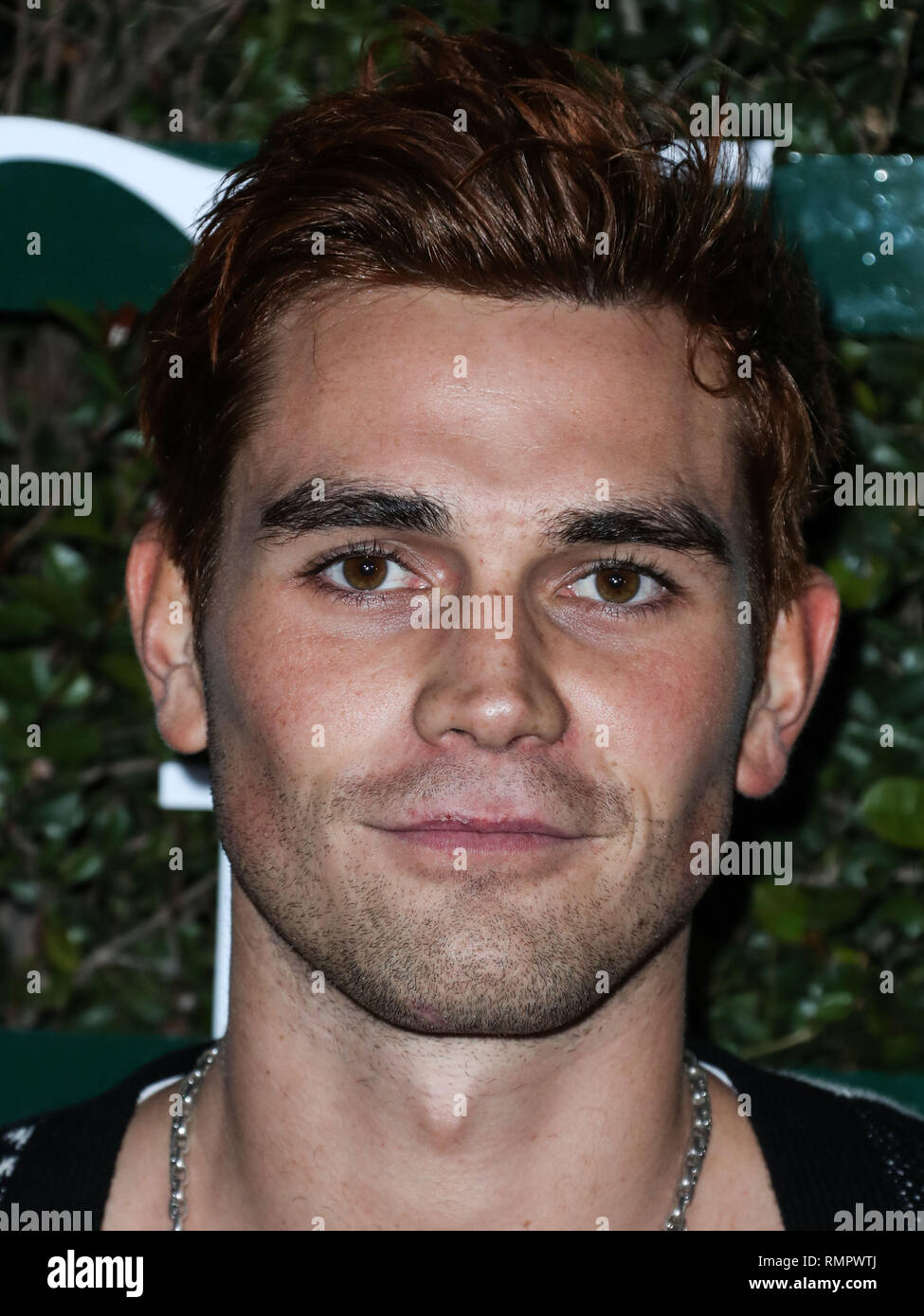 LOS ANGELES, CA, USA - FEBRUARY 15: Actor KJ Apa arrives at Teen Vogue's 2019 Young Hollywood Party Presented By Snap held at the Los Angeles Theatre on February 15, 2019 in Los Angeles, California, United States. (Photo by Xavier Collin/Image Press Agency) - Stock Image
