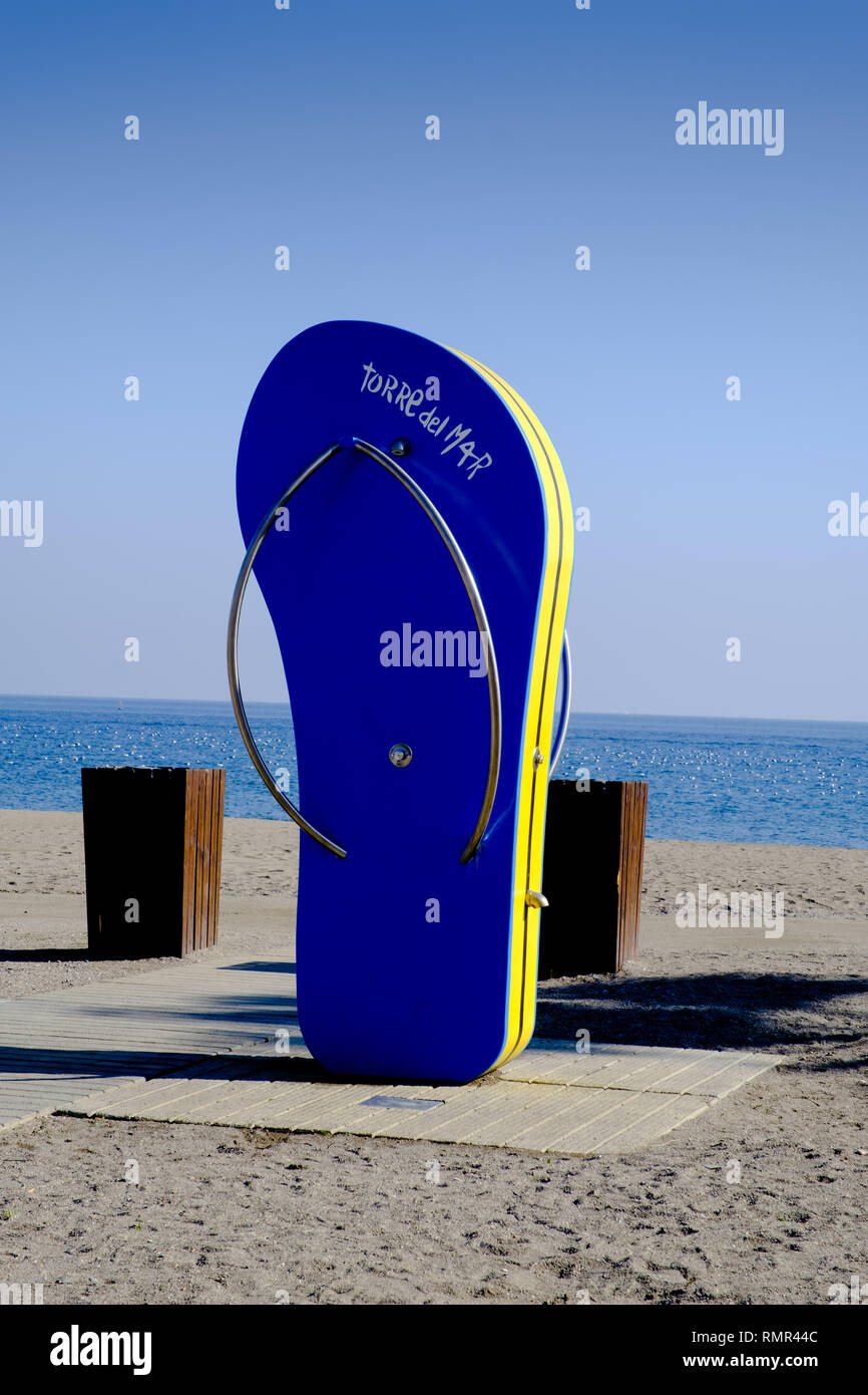 Flip Flop Shower, Torre del Mar, Andalucia, Malaga, Spain. - Stock Image