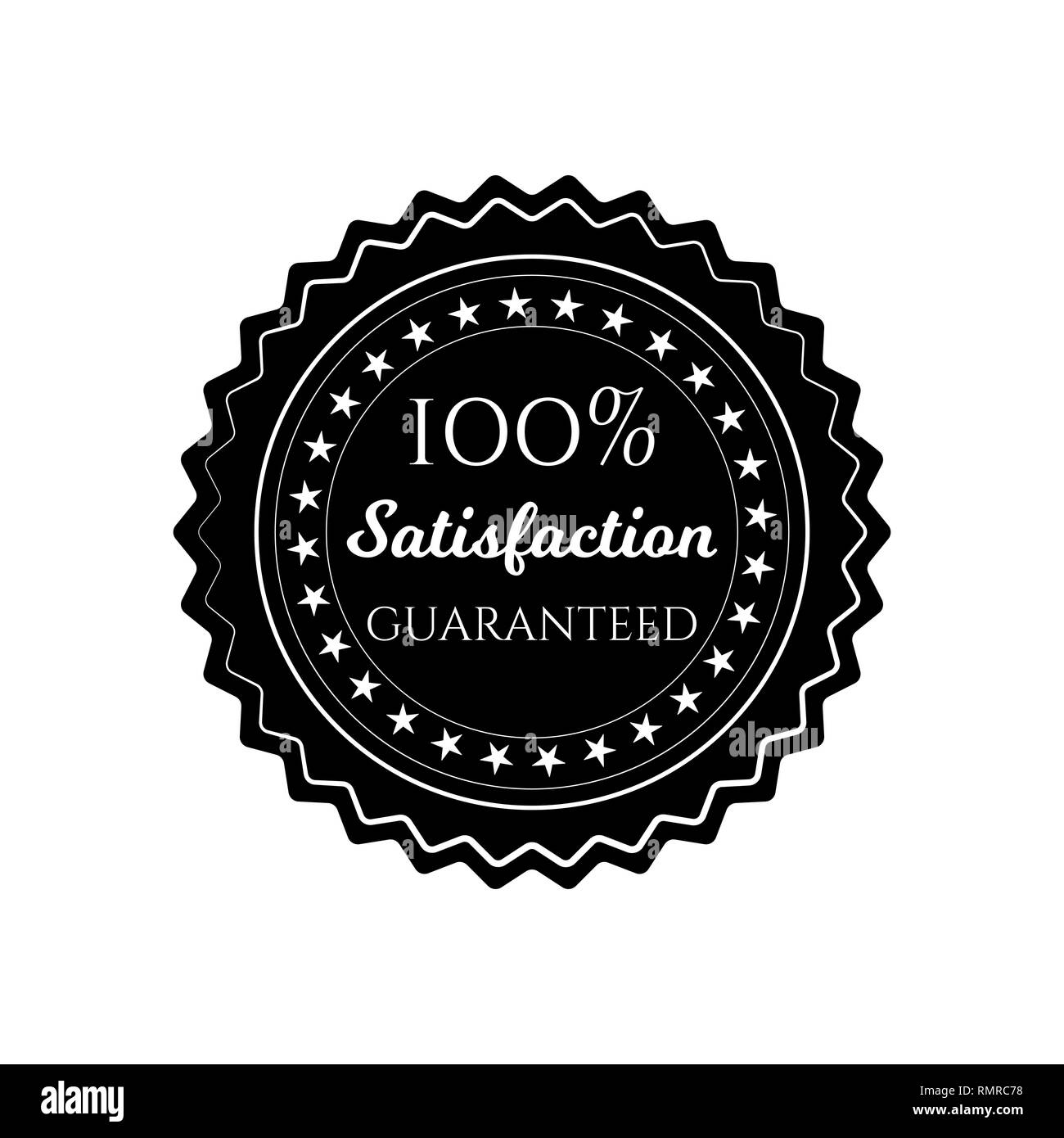 satisfaction guaranteed circle seal stamp on white background - Stock Vector