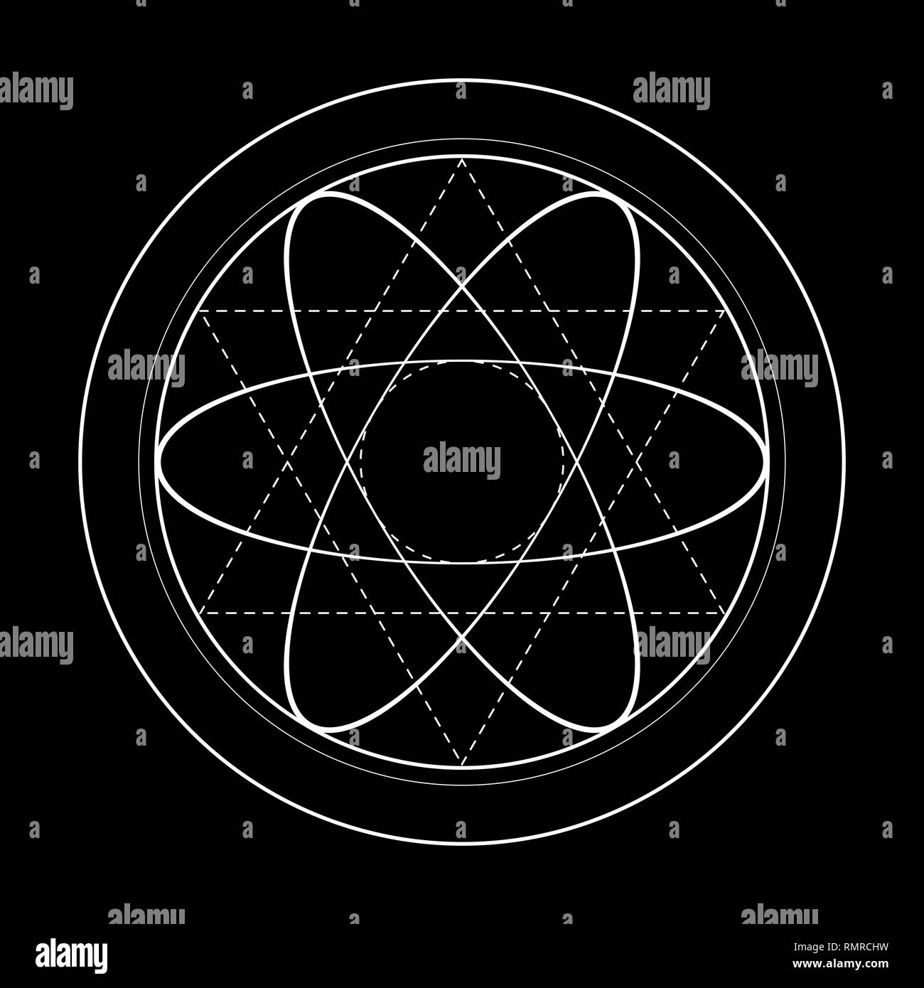 sacred geometry symbol illustration. Energy rotated circles - Stock Image