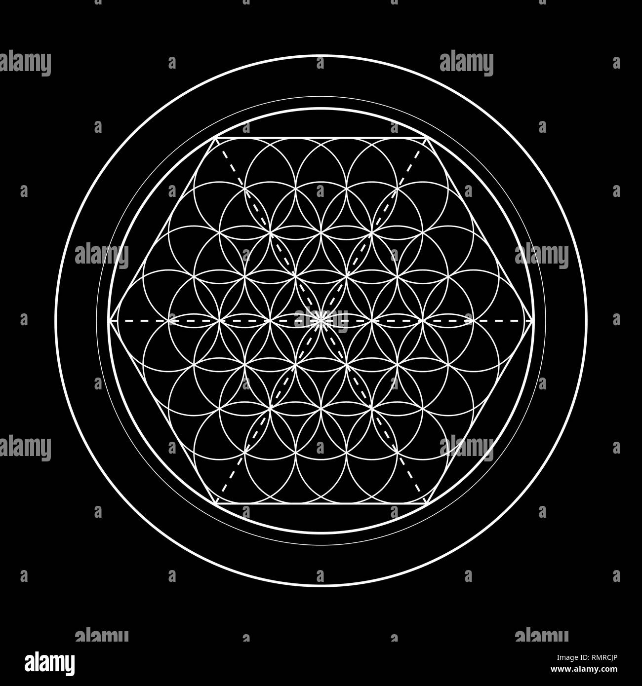 flower of life vector image, sacred geometry symbol on black background - Stock Image