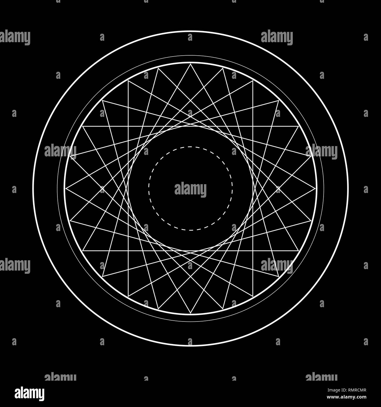 sacred geometry symbol illustration of vector energy star - Stock Image