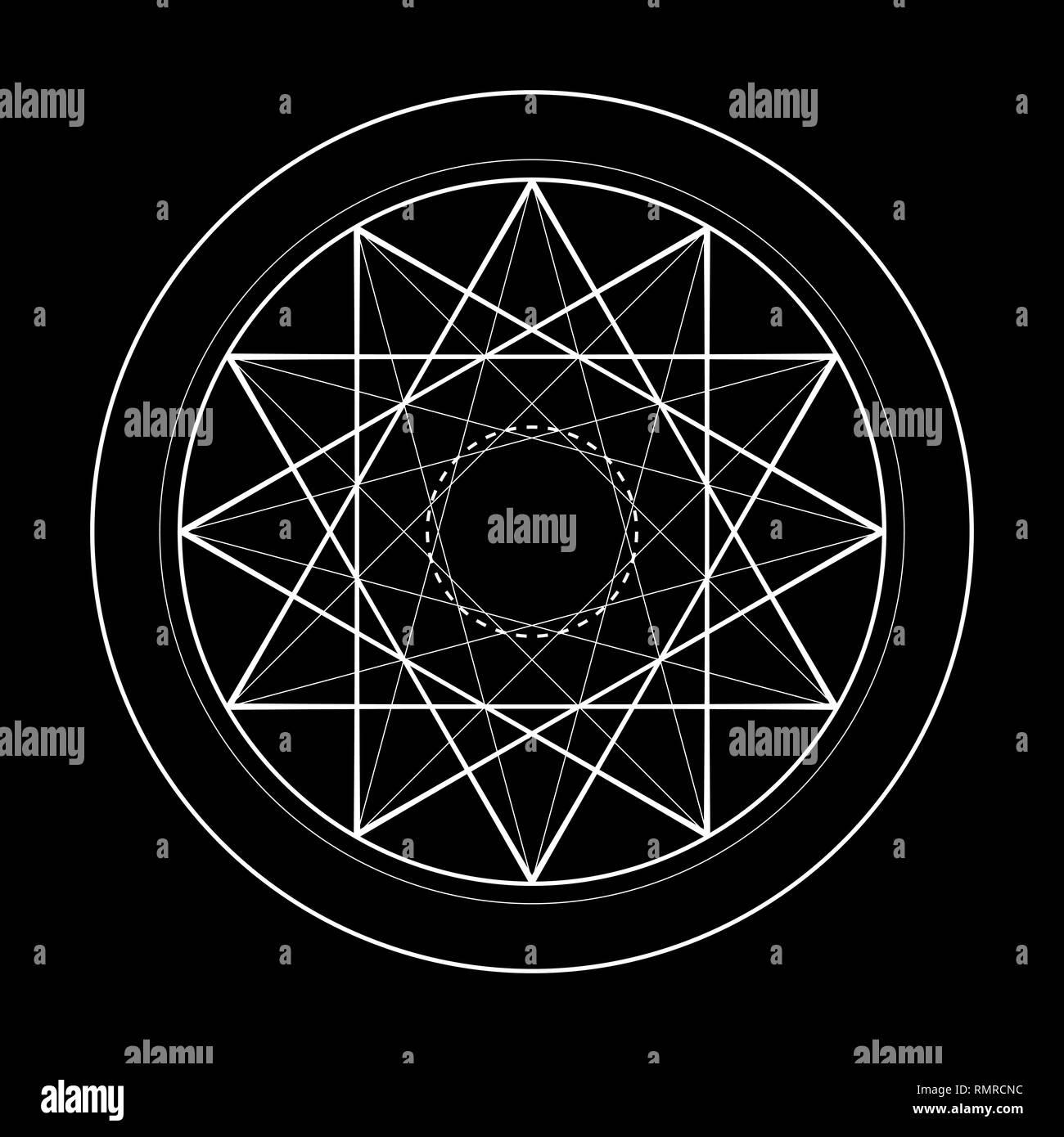sacred geometry symbol illustration of vector energy star - Stock Vector