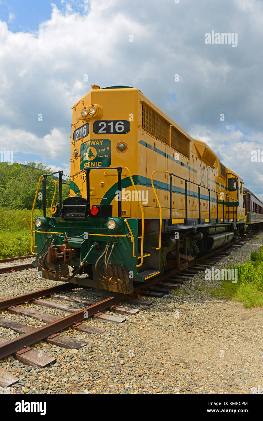 Conway Scenic Railroad EMD GP35 No. 216 in Crawford Notch Station in White Mountains, New Hampshire, USA. Stock Photo