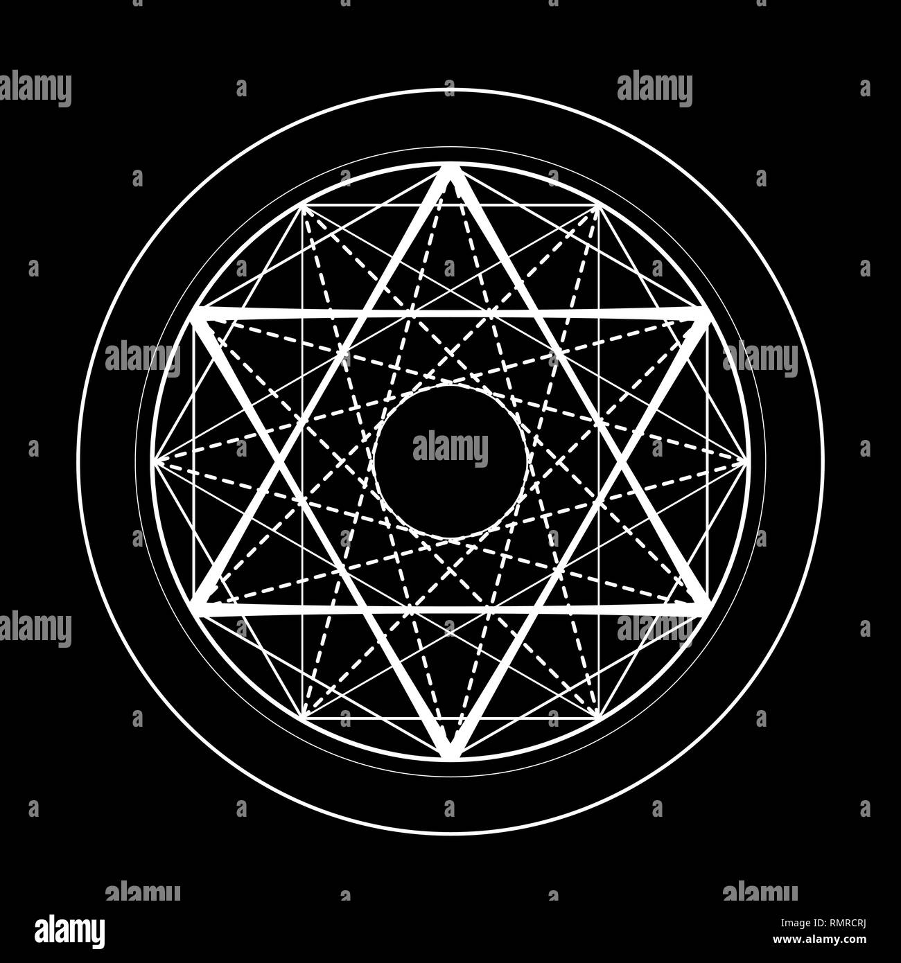 sacred geometry david star symbol illustration - Stock Image