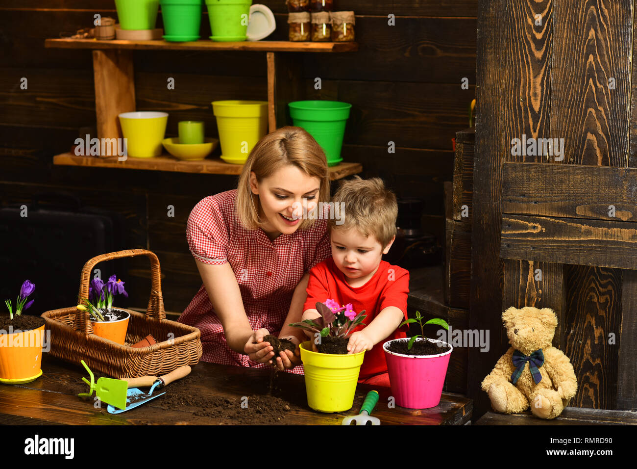 Decor concept. Little boy and woman planting flower in new pot decor. Natural eco decor. Home decor - Stock Image