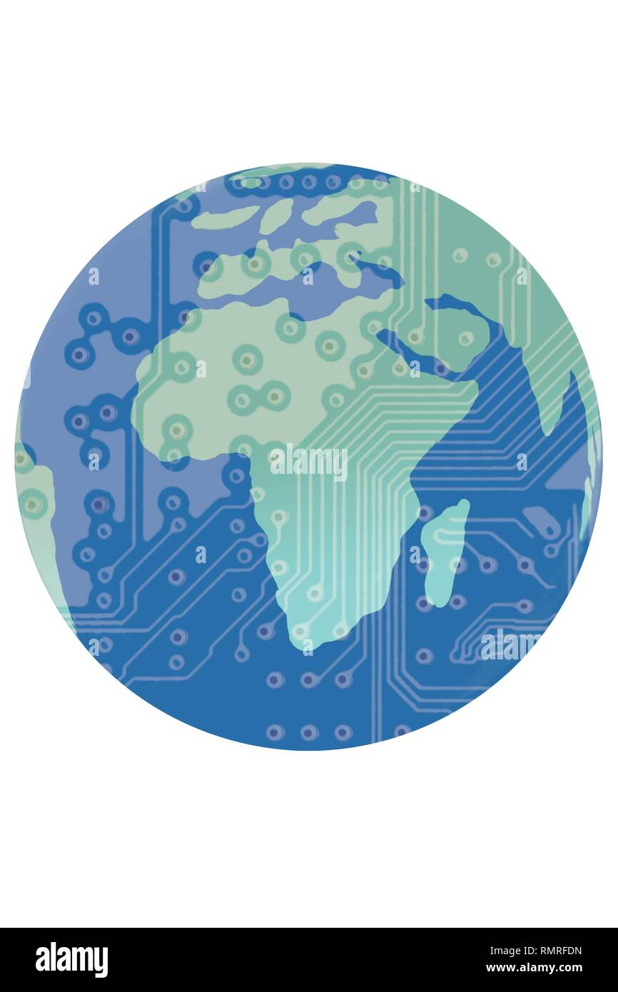 Globe with circuit board illustrating the global world wide web. Illustration. - Stock Image