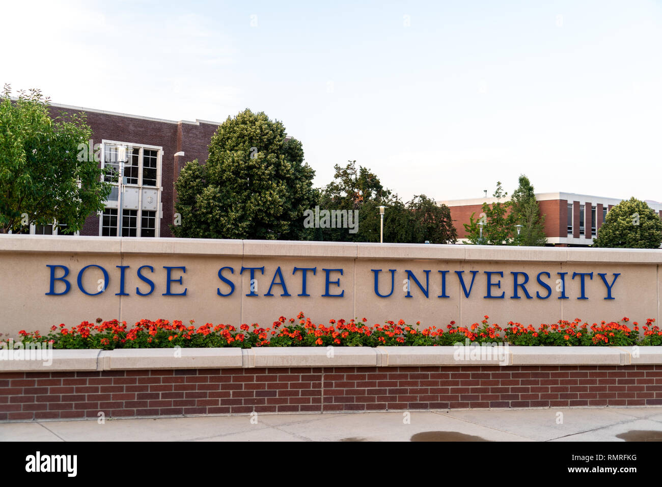 Boise, Idaho - July 21, 2018: Boise State Campus sign at the college campus, exterior view - Stock Image
