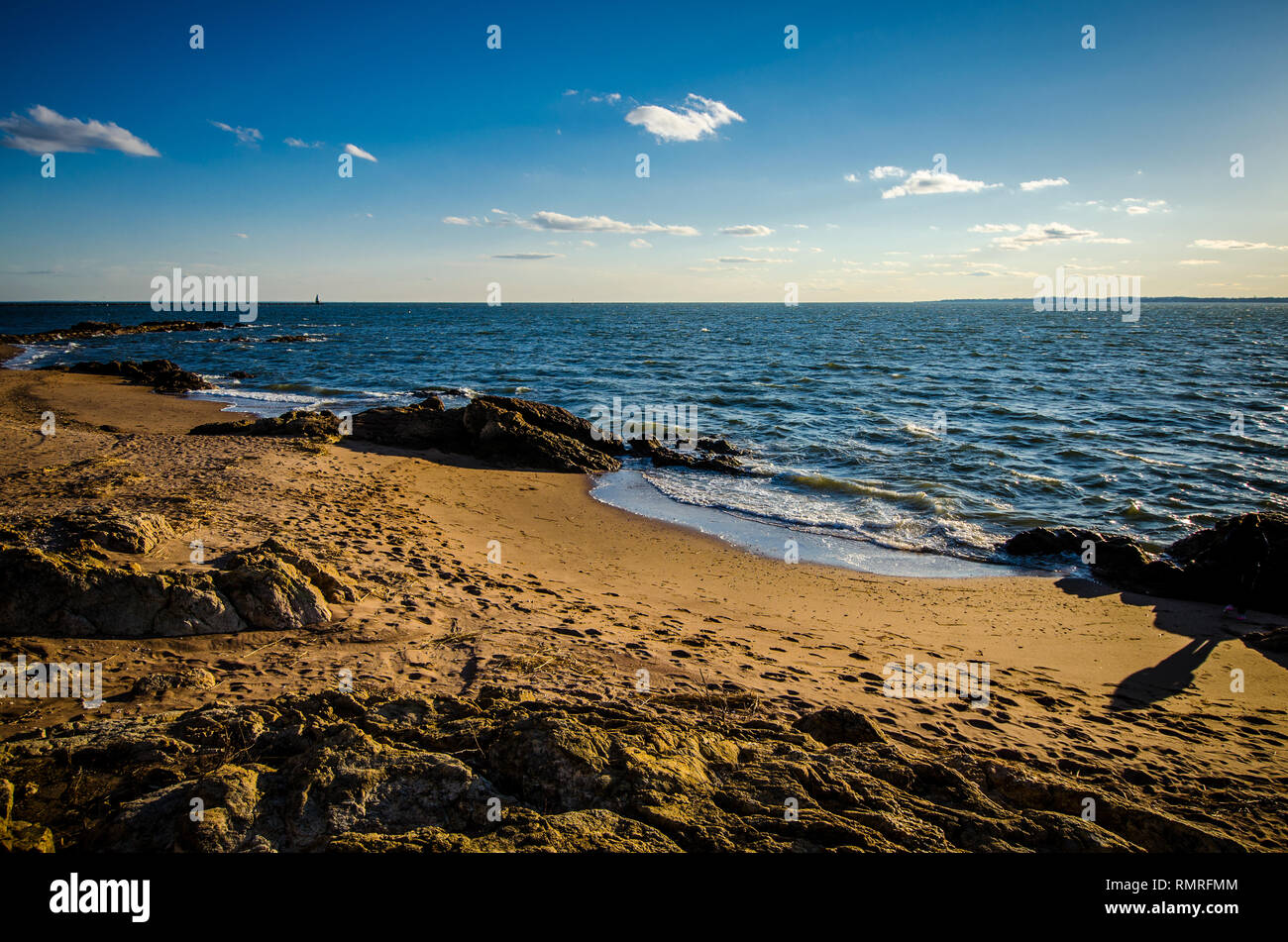 View of the Long Island Sound from Lighthouse Point in New Haven Connecticut - Stock Image