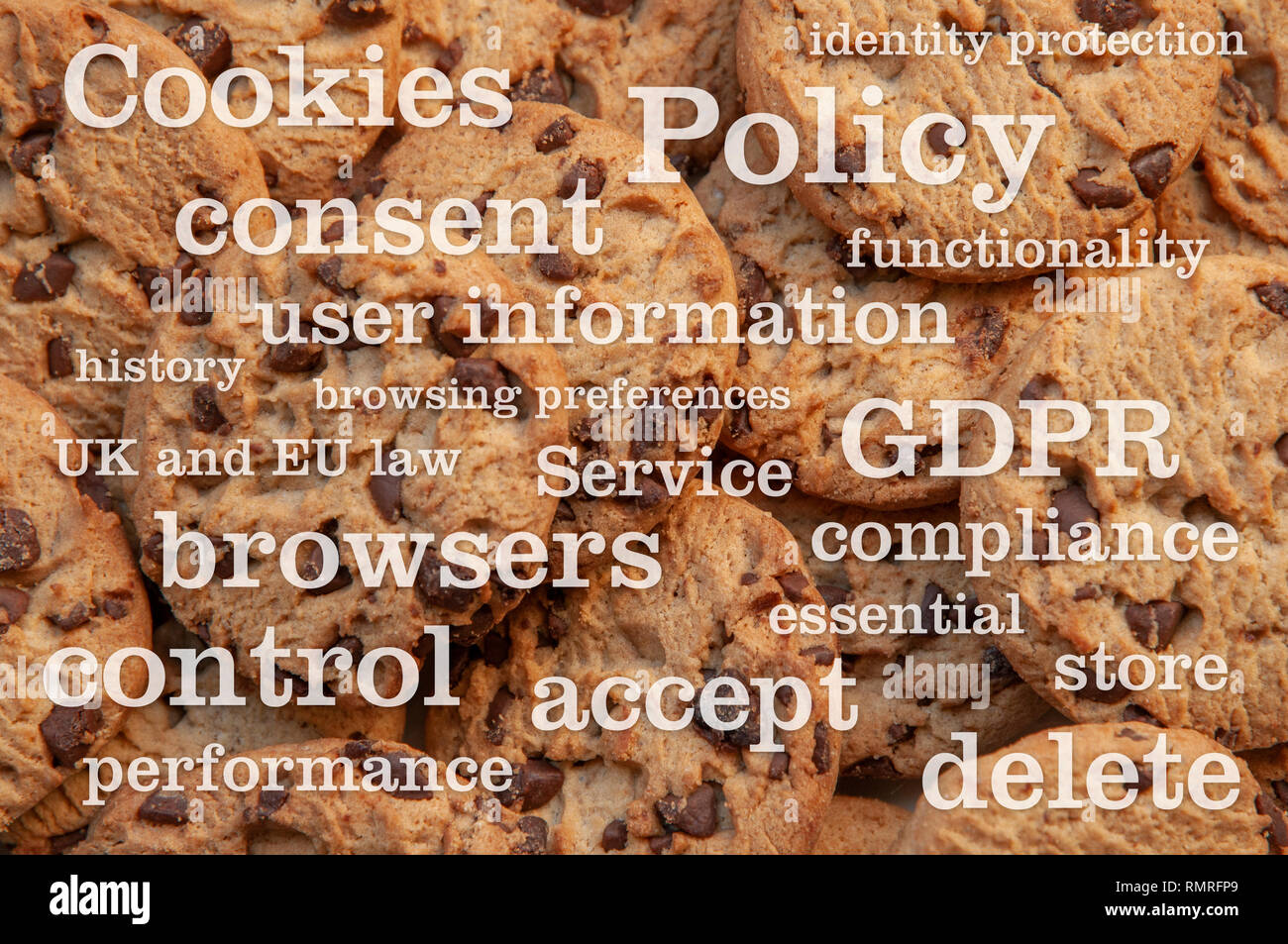 Cookie Policy. An illustrational photo of Cookie (or Cookies) Policy as displayed on websites using cookies for tracking browser usage of its pages. - Stock Image