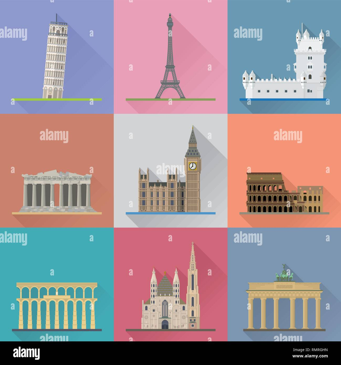 European Landmarks Flat Design Long Shadow Vector Illustration. Travel Concept. - Stock Vector
