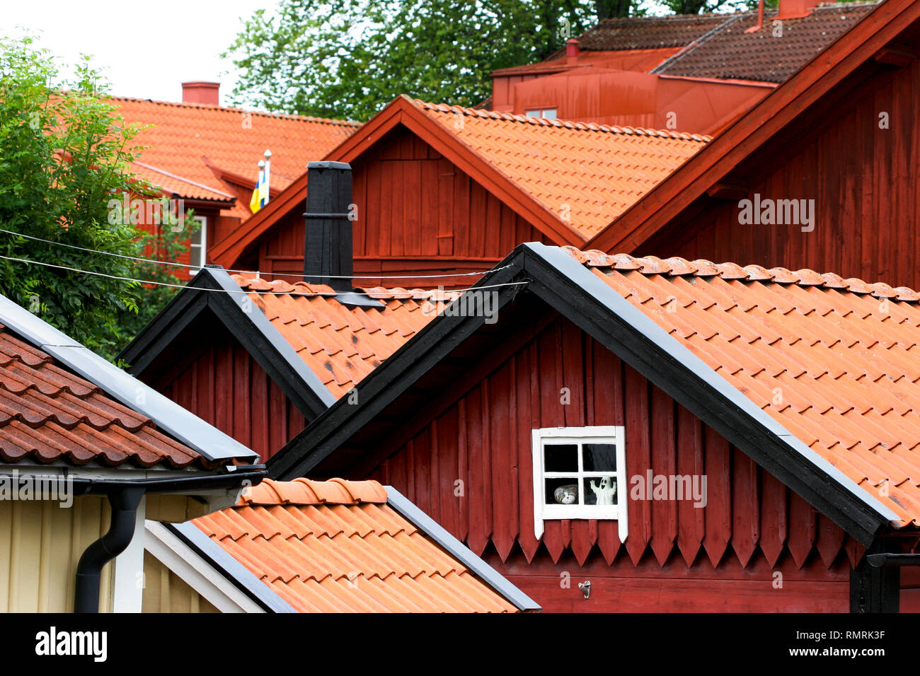 EKSJÖ THE WOODEN TOWN gable and roof - Stock Image