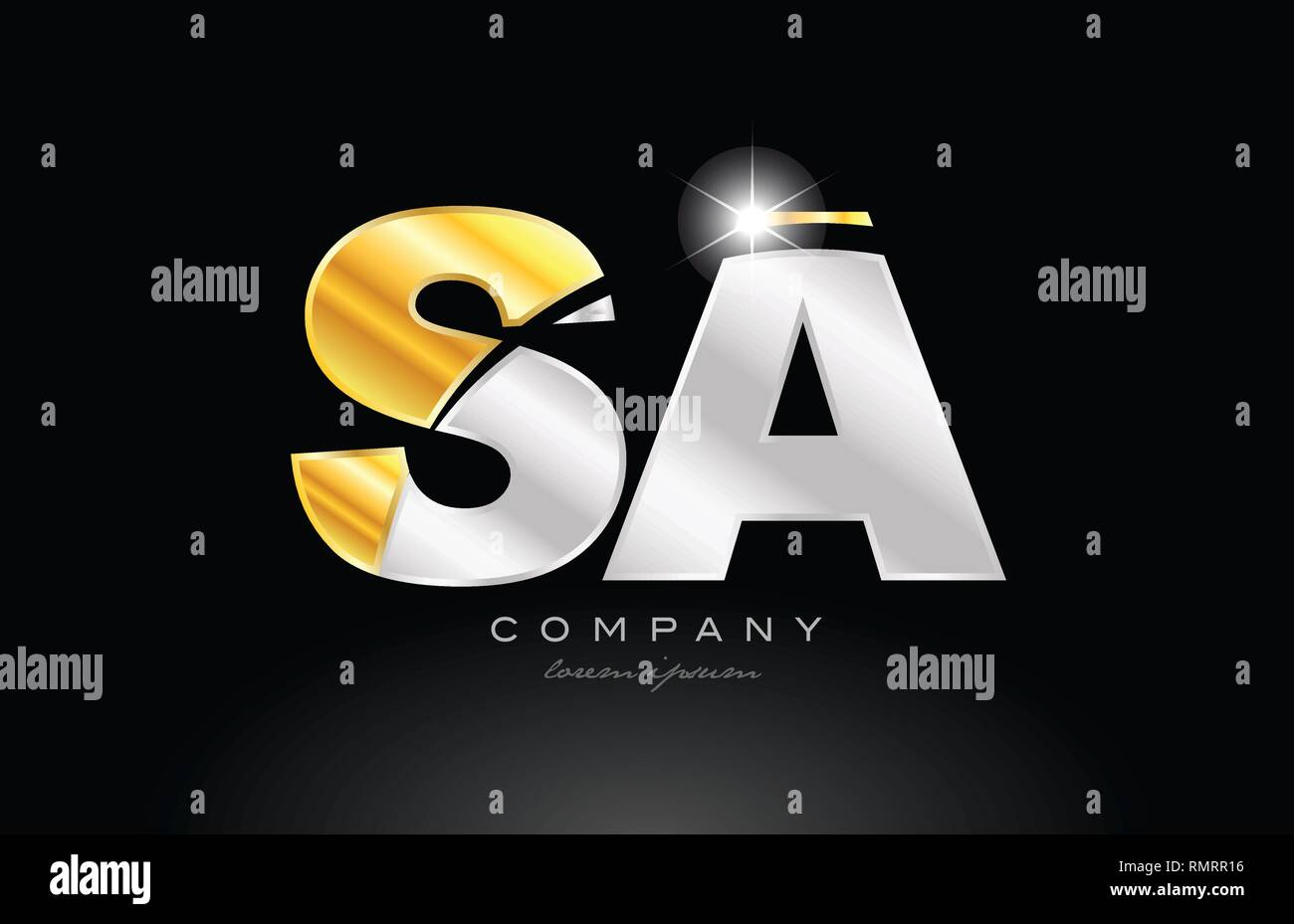 combination letter sa s a alphabet logo icon design with gold silver grey metal on black background suitable for a company or business - Stock Vector