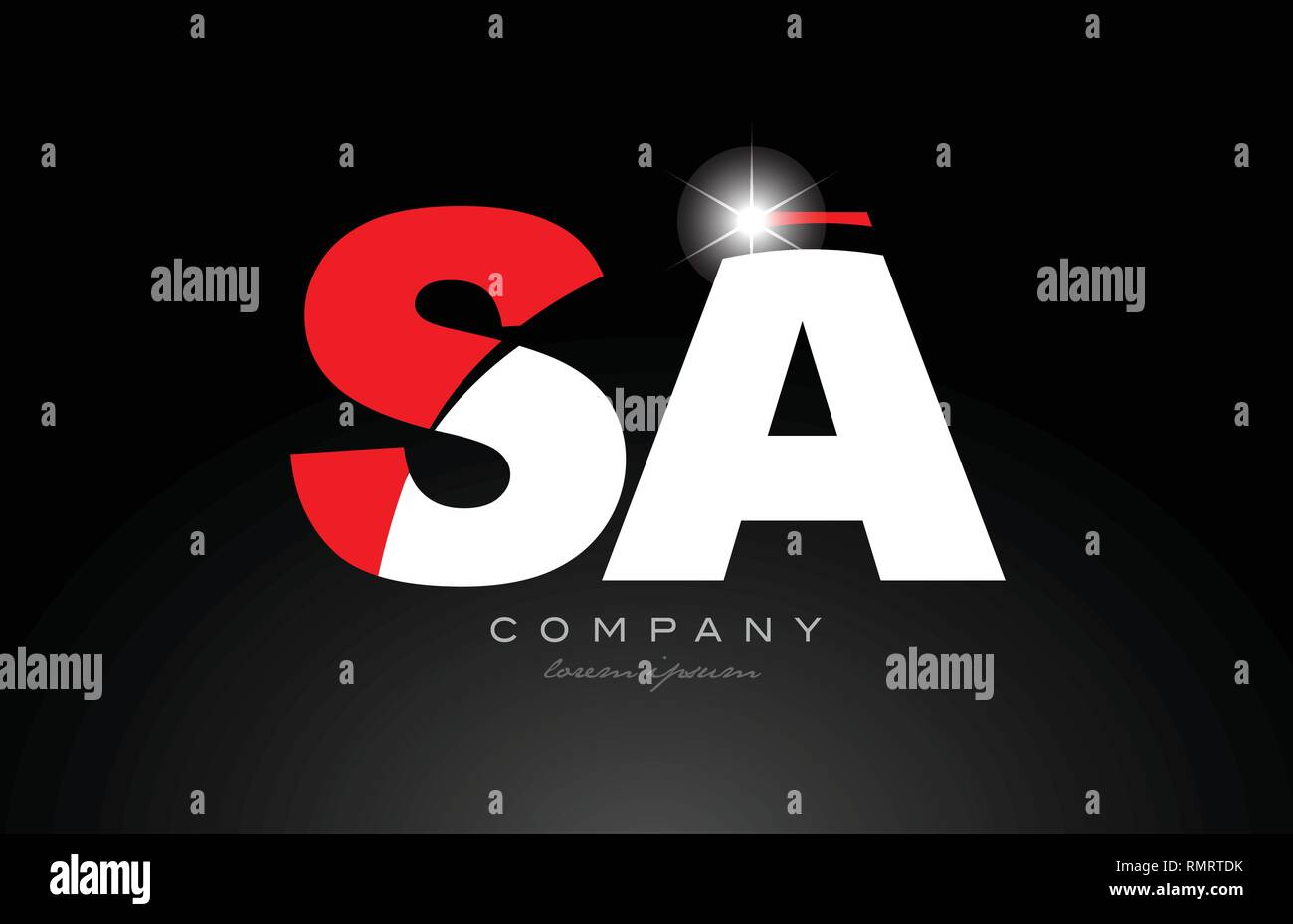 red white color alphabet letter combination sa s a logo icon design suitable for a company or business - Stock Vector